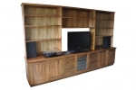 EU 155 is made in Tas Blackwood - 3100(w) x 1965(h) x 450 & 280(d)- All our Entertainment Units can be customized in size to suit your individual room. They can be made with a variety of solid timbers including Tasmanian Blackwood, Blue Gum, Tasmanian Oak, Jarrah, Blackbutt and many more. Give us a call with your requirements for an obligation free quote.