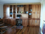 Custom Wall Unit/Study Desk in Tasmanian Blackwood - Built in - 4200w x 2280h x 800 & 500 & 320d