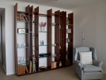 Custom Wall Unit in Blue Gum & 19mm Glass - 2600w x 2500h x 320d