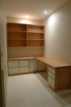 Study No 4 is made in Tasmanian Oak with painted doors and drawers. 2150 x 1895 x 750h + bookcase at 1895w x 1100h x 280d.Lots of File drawers and some sliding doors as well.